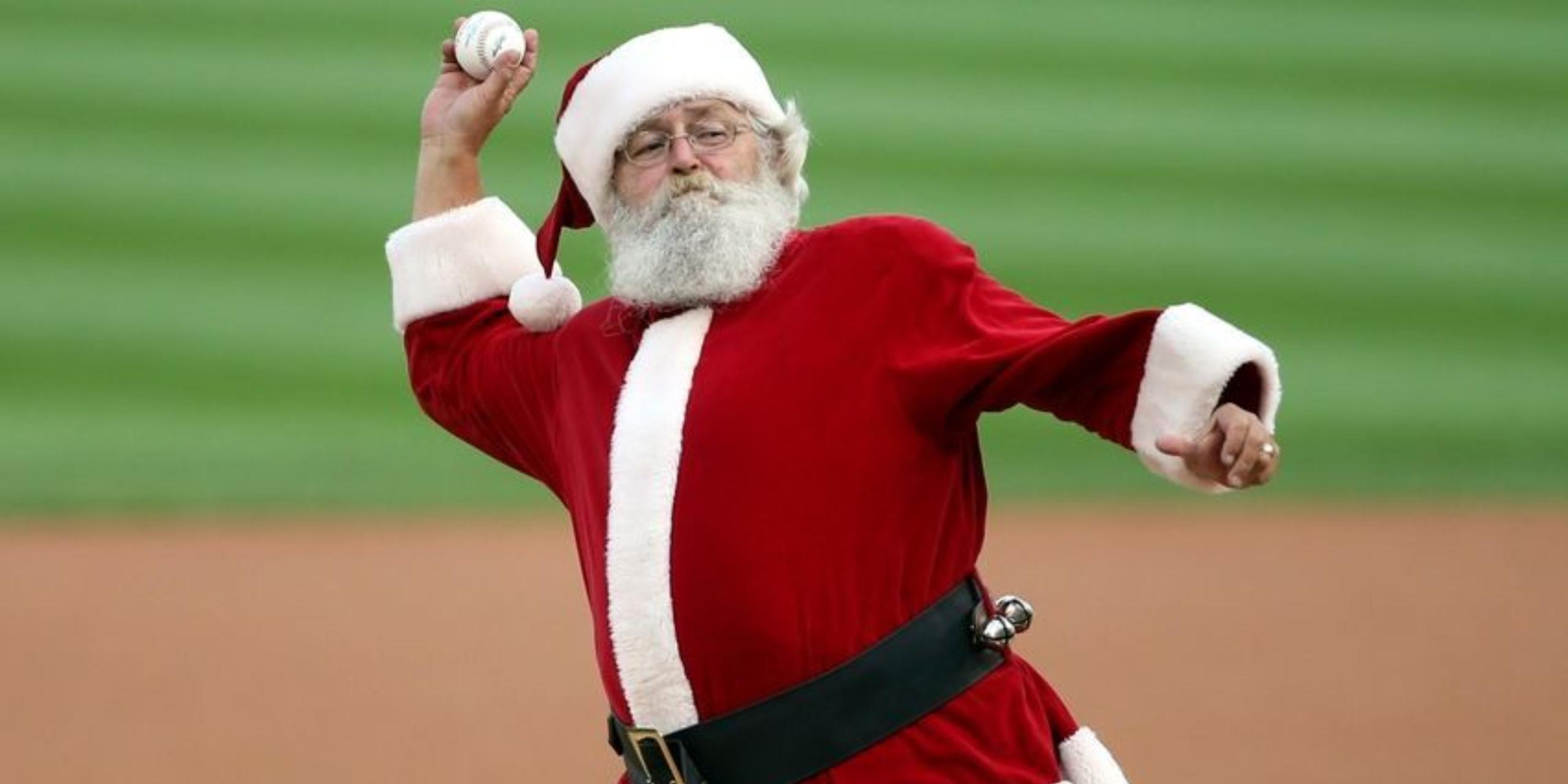 santa throwing a baseball